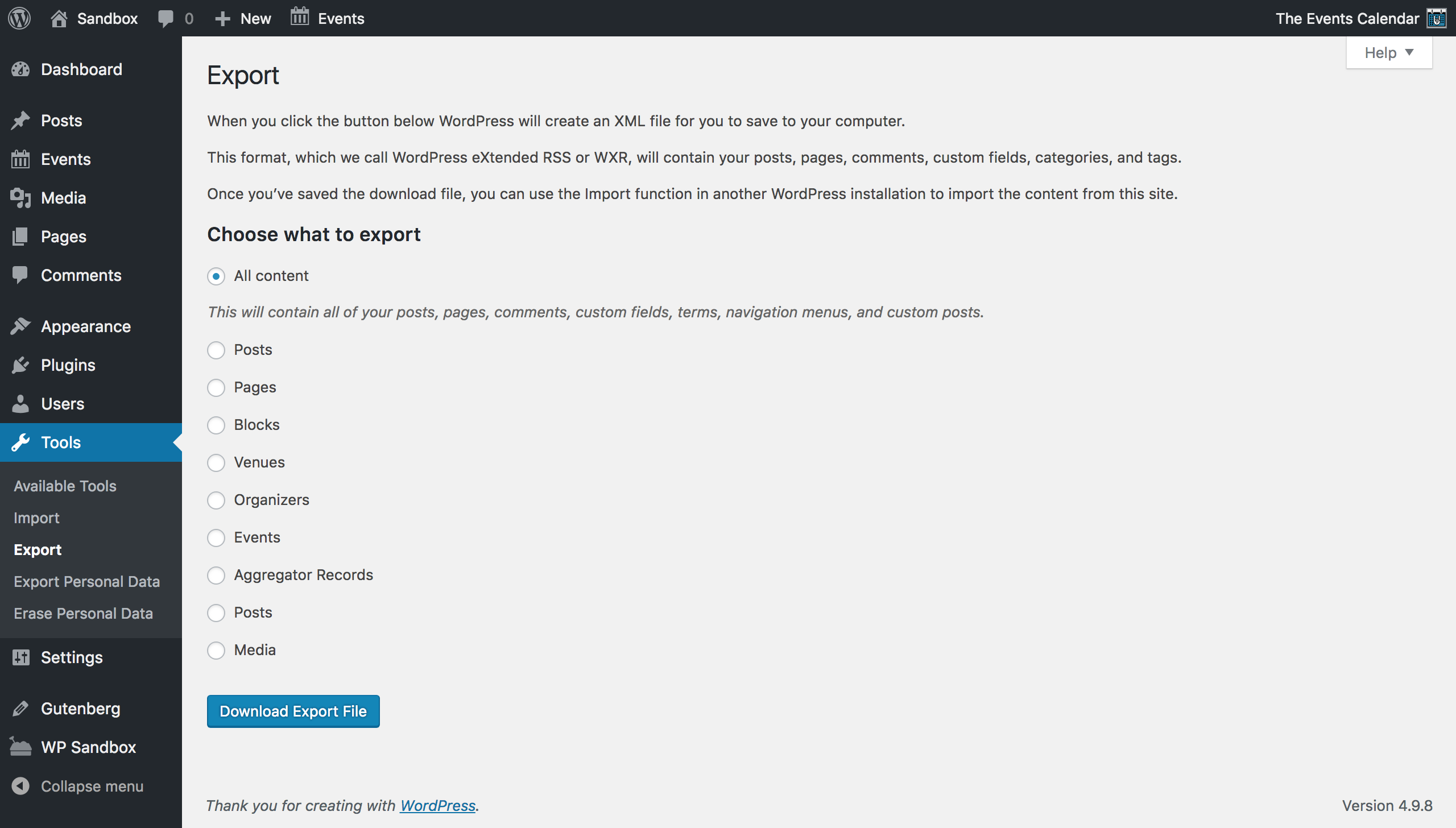 WordPress native content export function