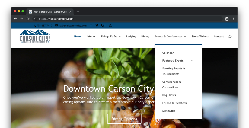 Another screenshot of the Visit Carson City site header, this time with the Events and Conferences dropdown menu expended, which displays a number of event categories, including Sporting Events, Conferences and Dog Shows, among others.