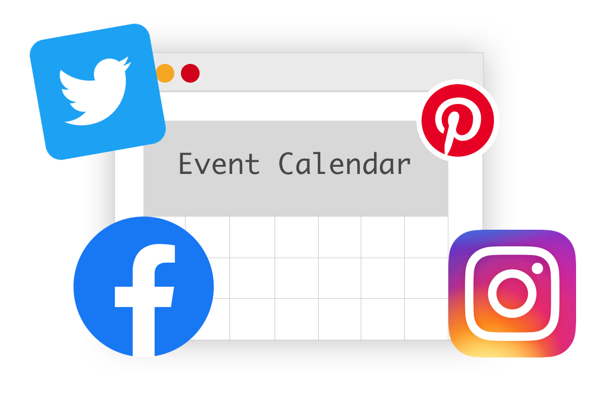 An illustration of a calendar surrounded by social media logos for Twitter, Facebook, Pinterest and Instagram.