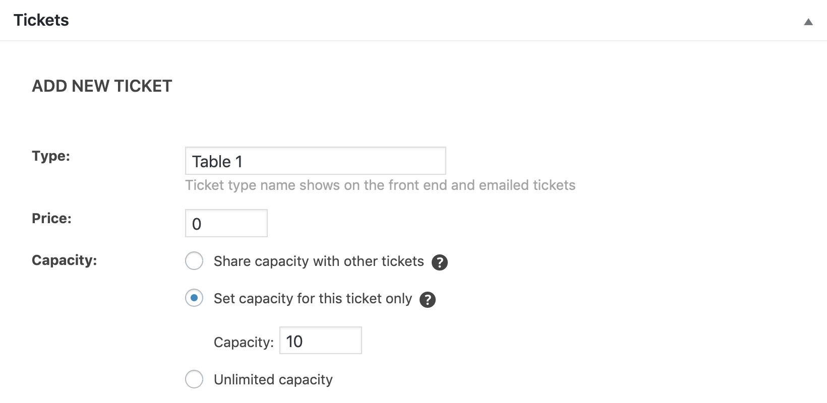 Event Tickets add new ticket section