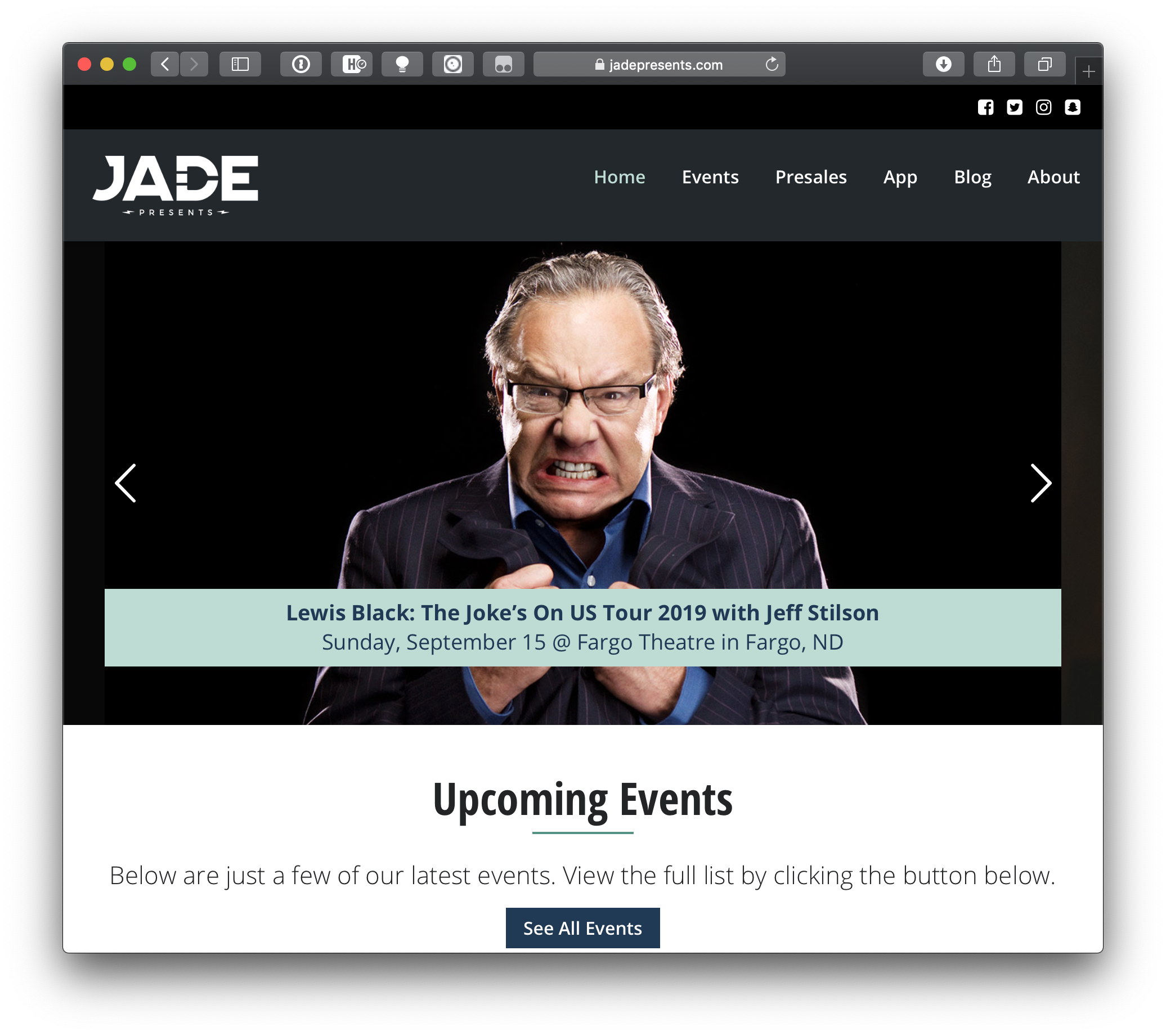 A slider on the Jade Presents homepage showing featured upcoming events.