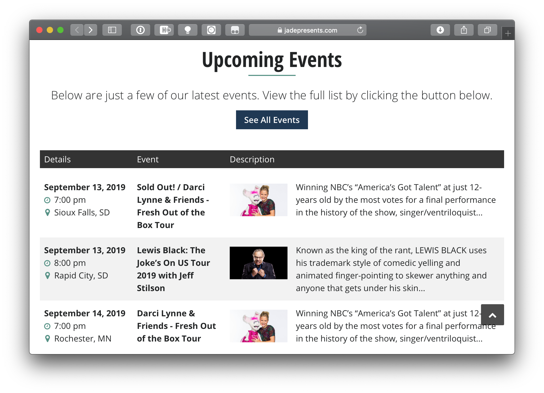 A list of three upcoming events in a custom table format that shows event details, a featured image and an event description for each event.