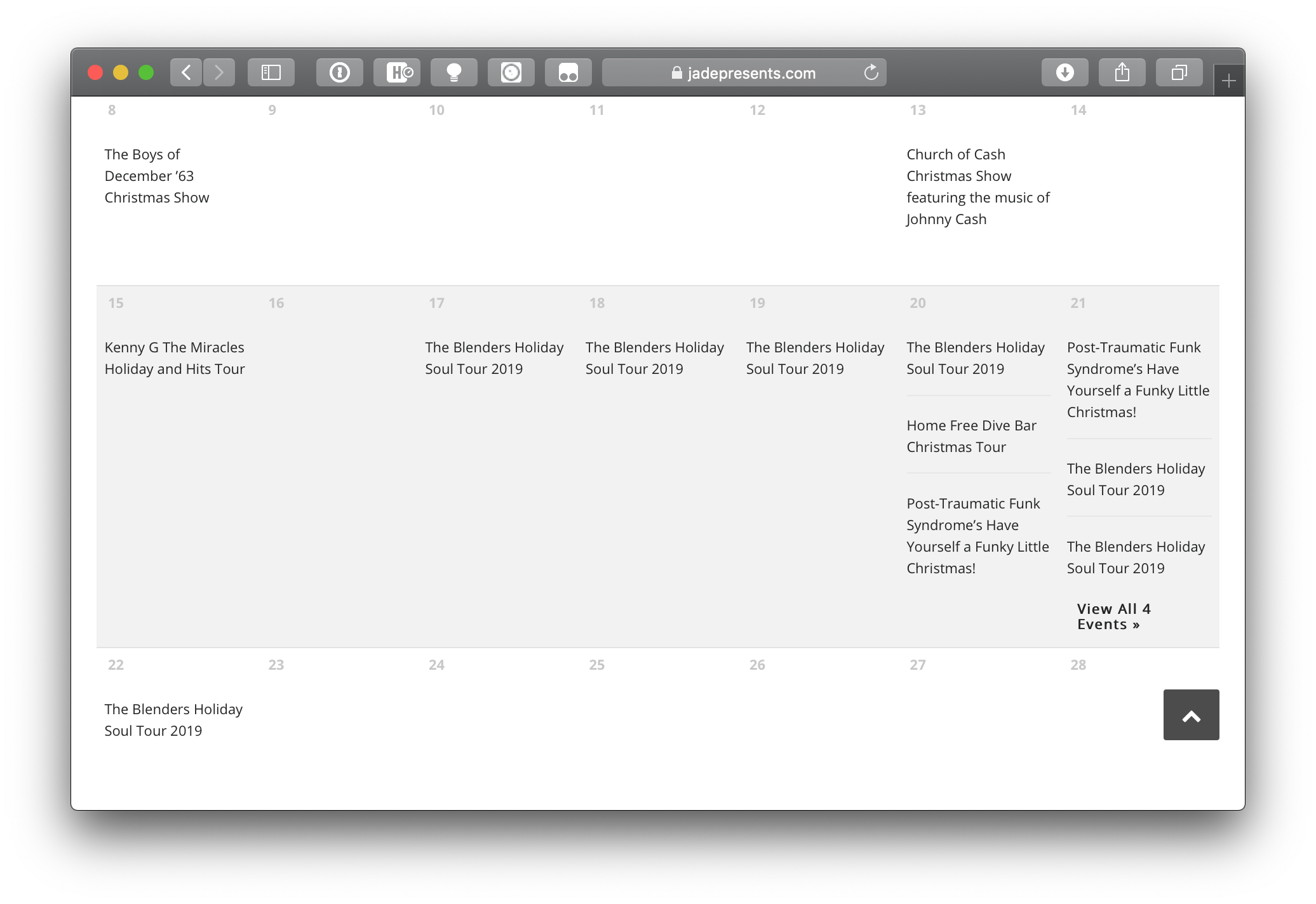 The month view of Jade's online calendar where one day contains three events with a link to view more events.