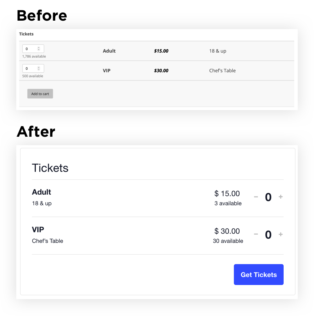 Showing the existing ticket design next to the new design.