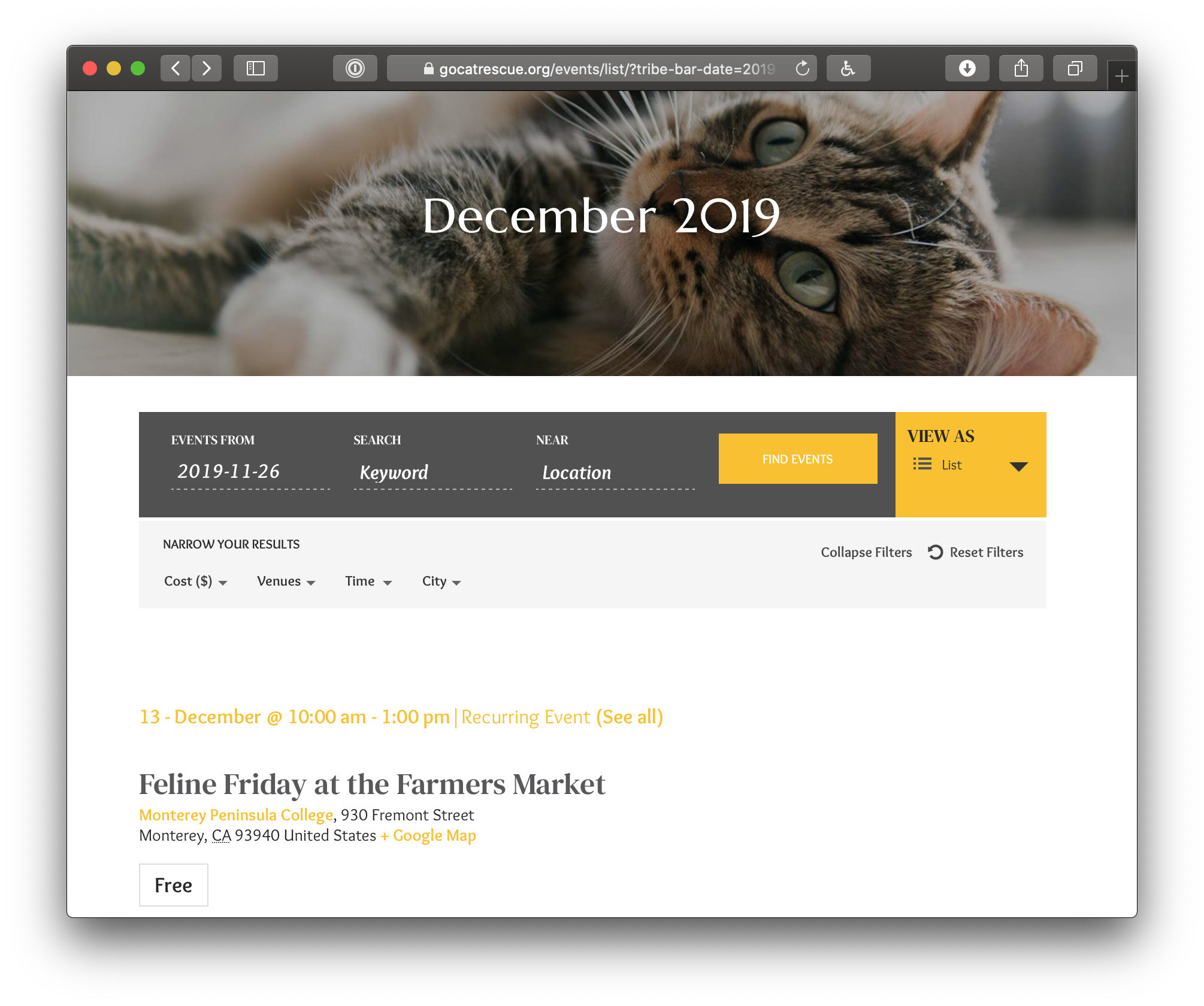 Showing the calendar header. The top shows the page title against a large background image of a cat. Below it is the event search form followed by a set of options for filtering events by cost, venue, time and city.