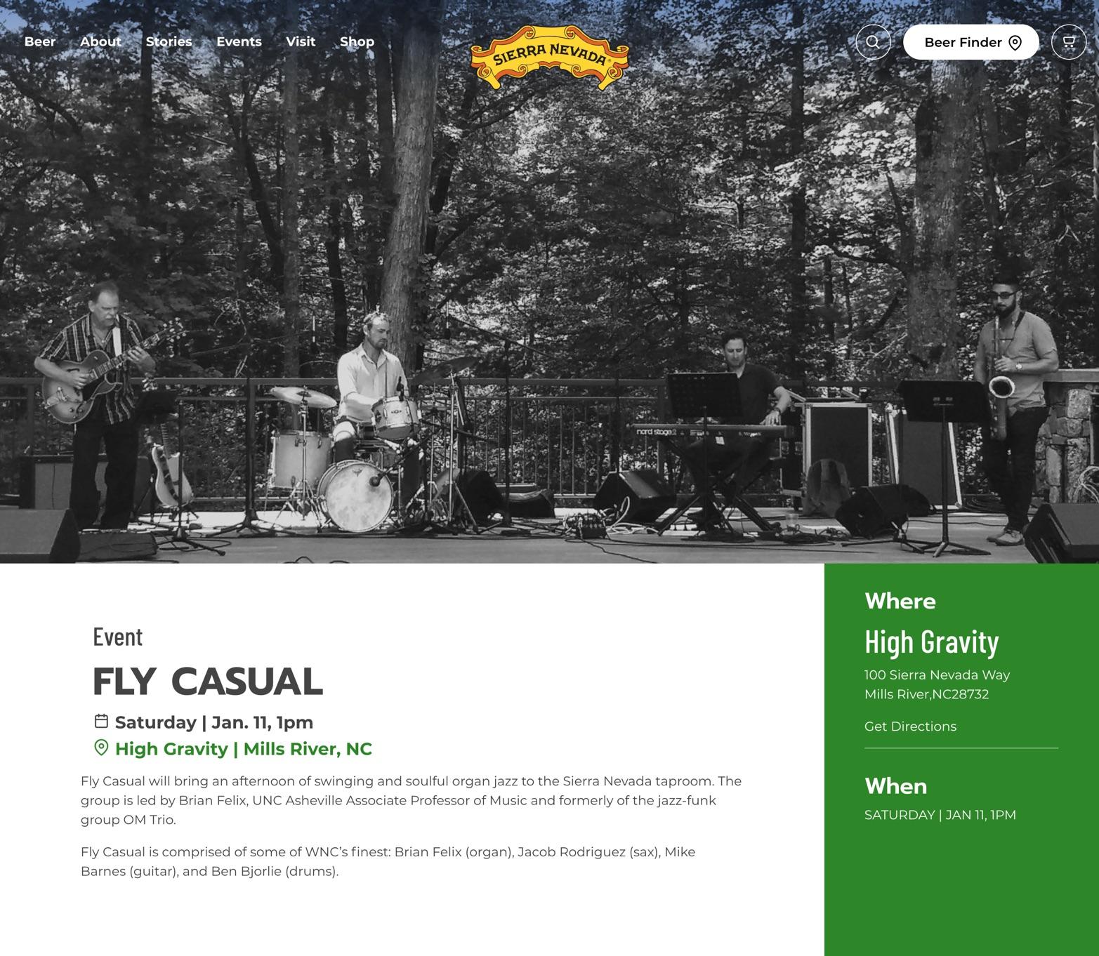 Screenshot of an event on the Sierra Nevada website.