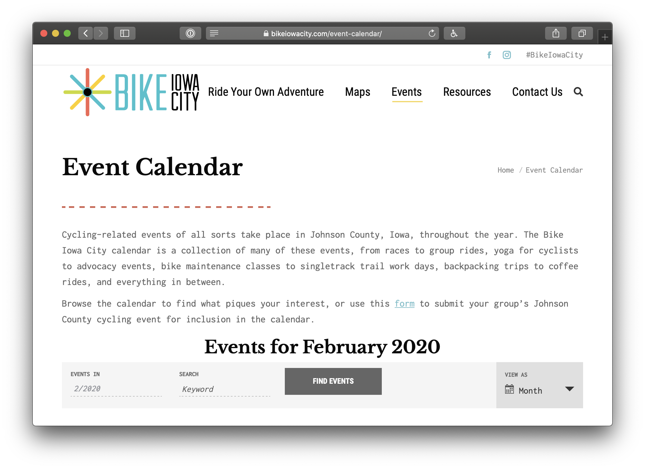 Showing the content above the website's calendar explaining how to submit events.
