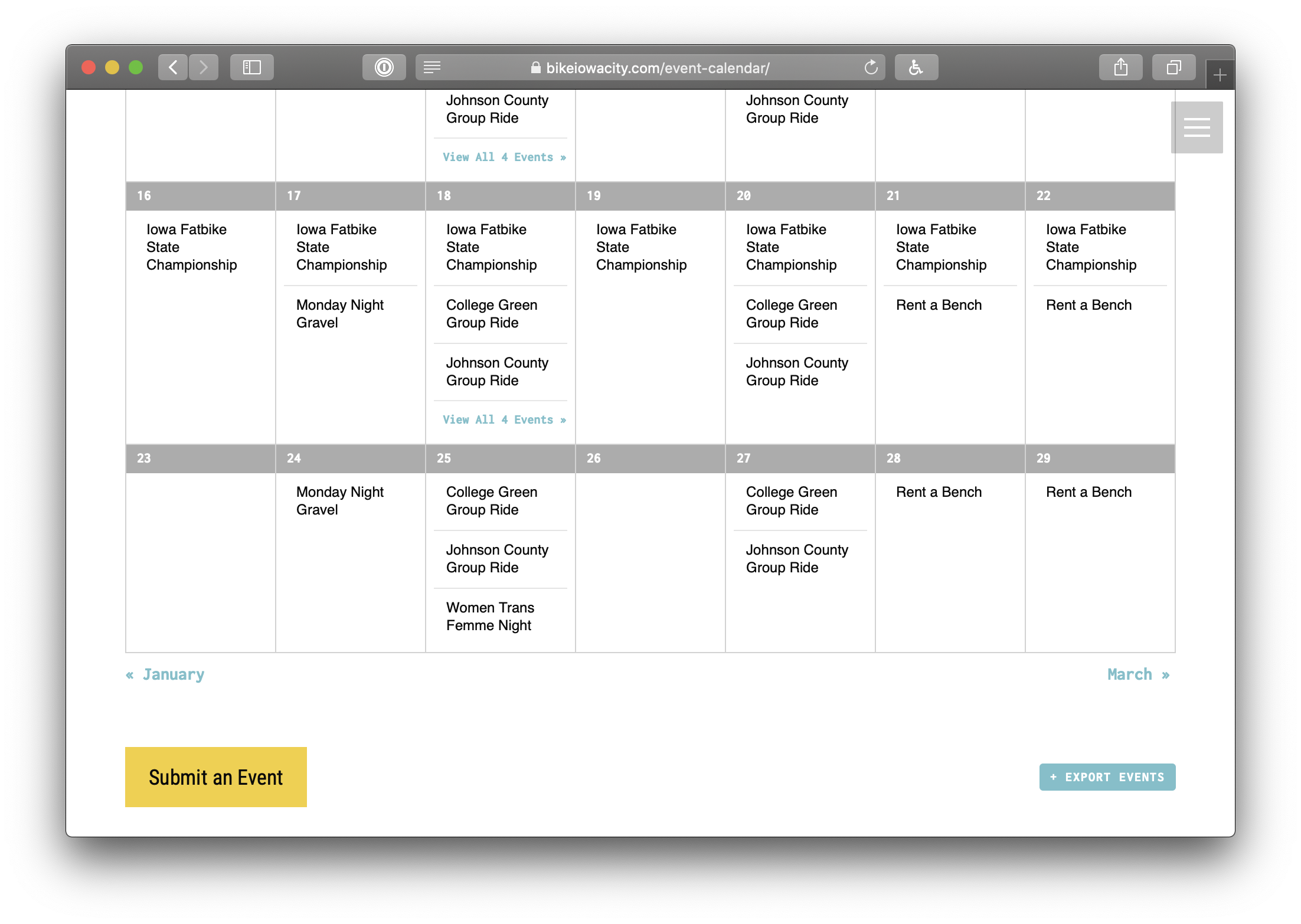 Showing the bottom of Bike Iowa's calendar which has a large yellow button to submit an event.