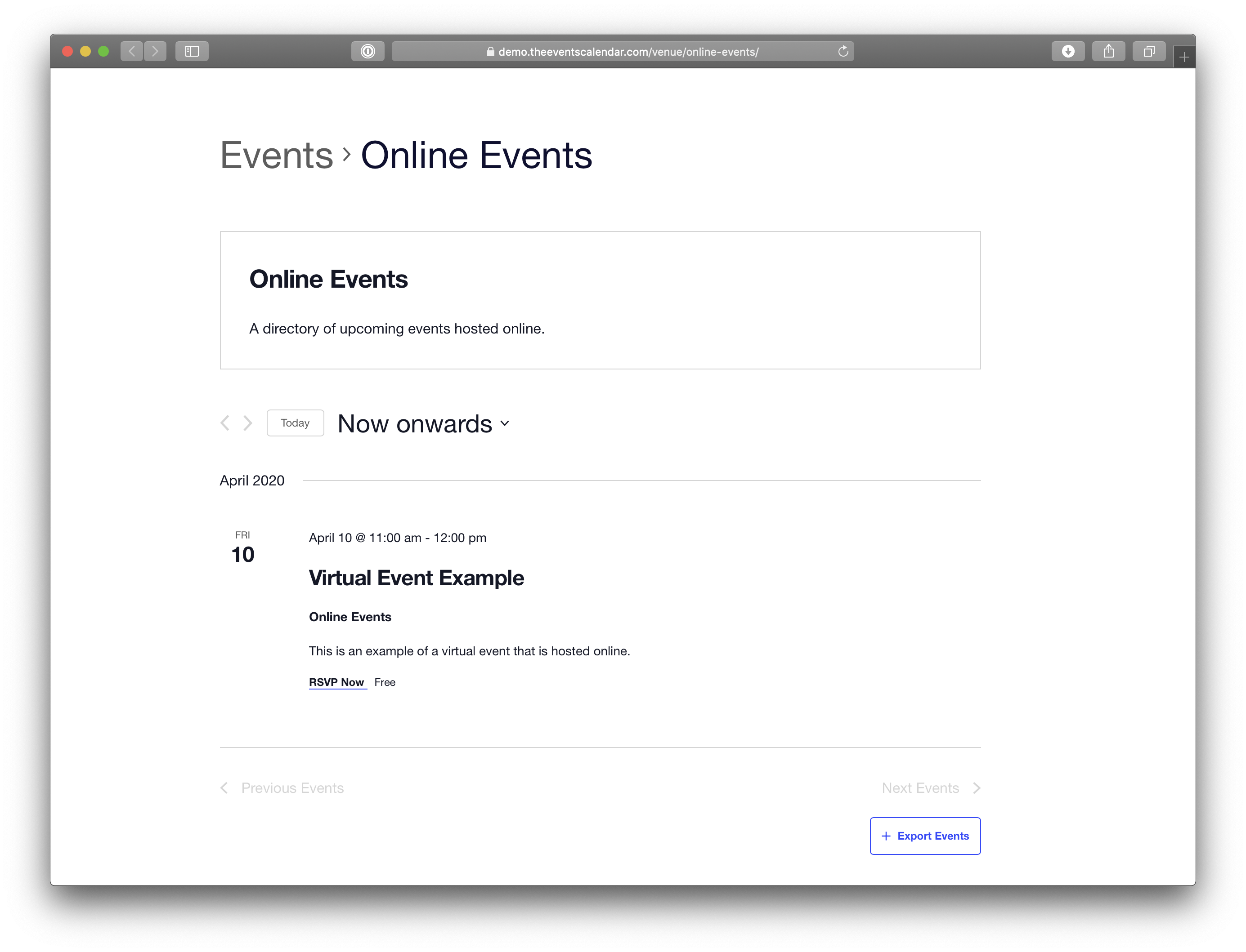 Showing a venue page with online event listings.