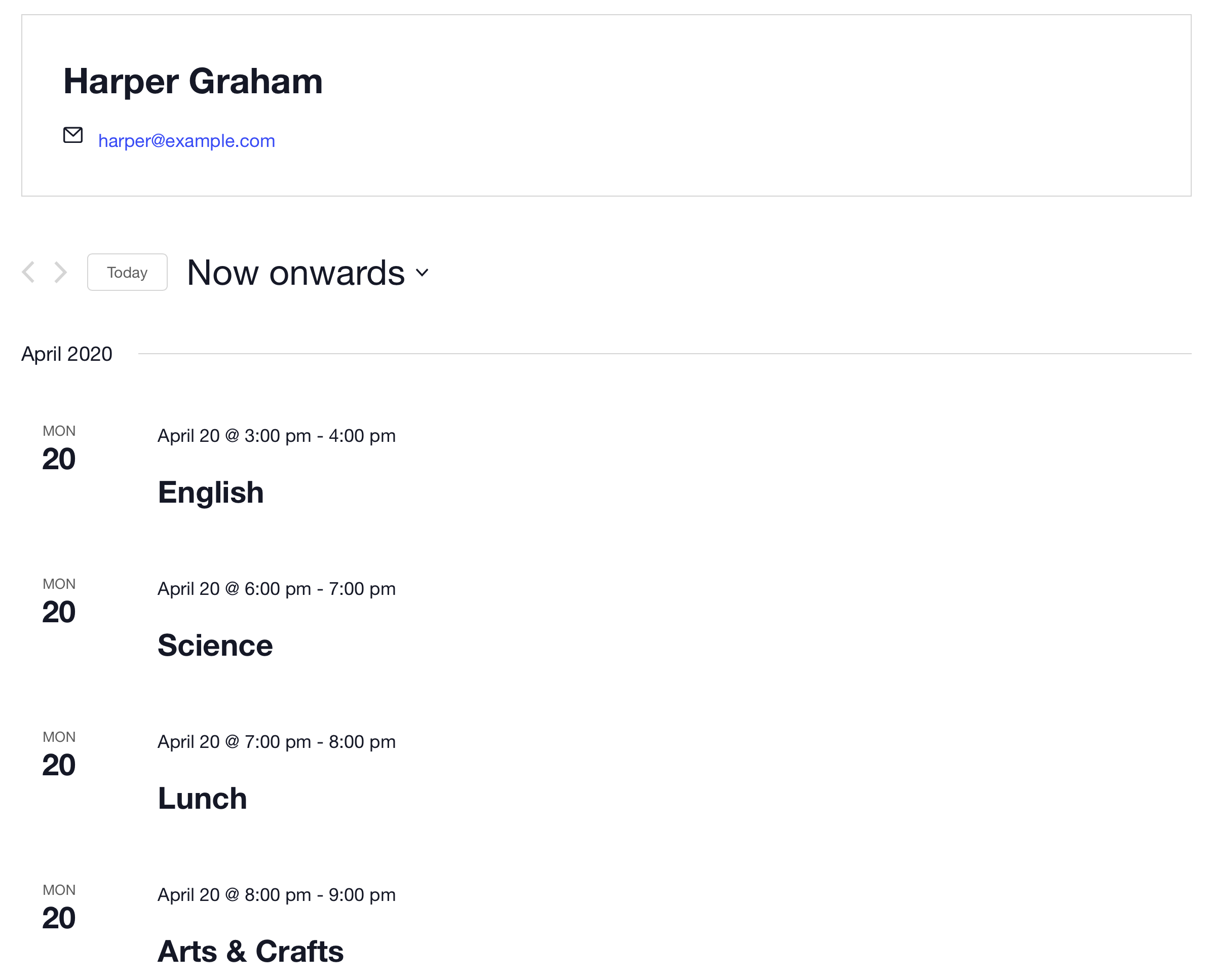 Screenshot of the organizer page the plugin set up for my daughter showing all of her upcoming lessons in a list.