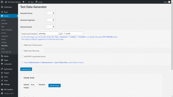 Screenshot of the WP admin view of the Test Data Generator extension version 1.0.3