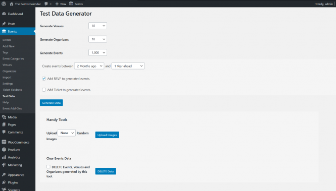Screenshot of the WP admin view of the Test Data Generator extension
