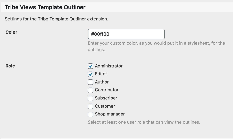 Template Outliner Settings