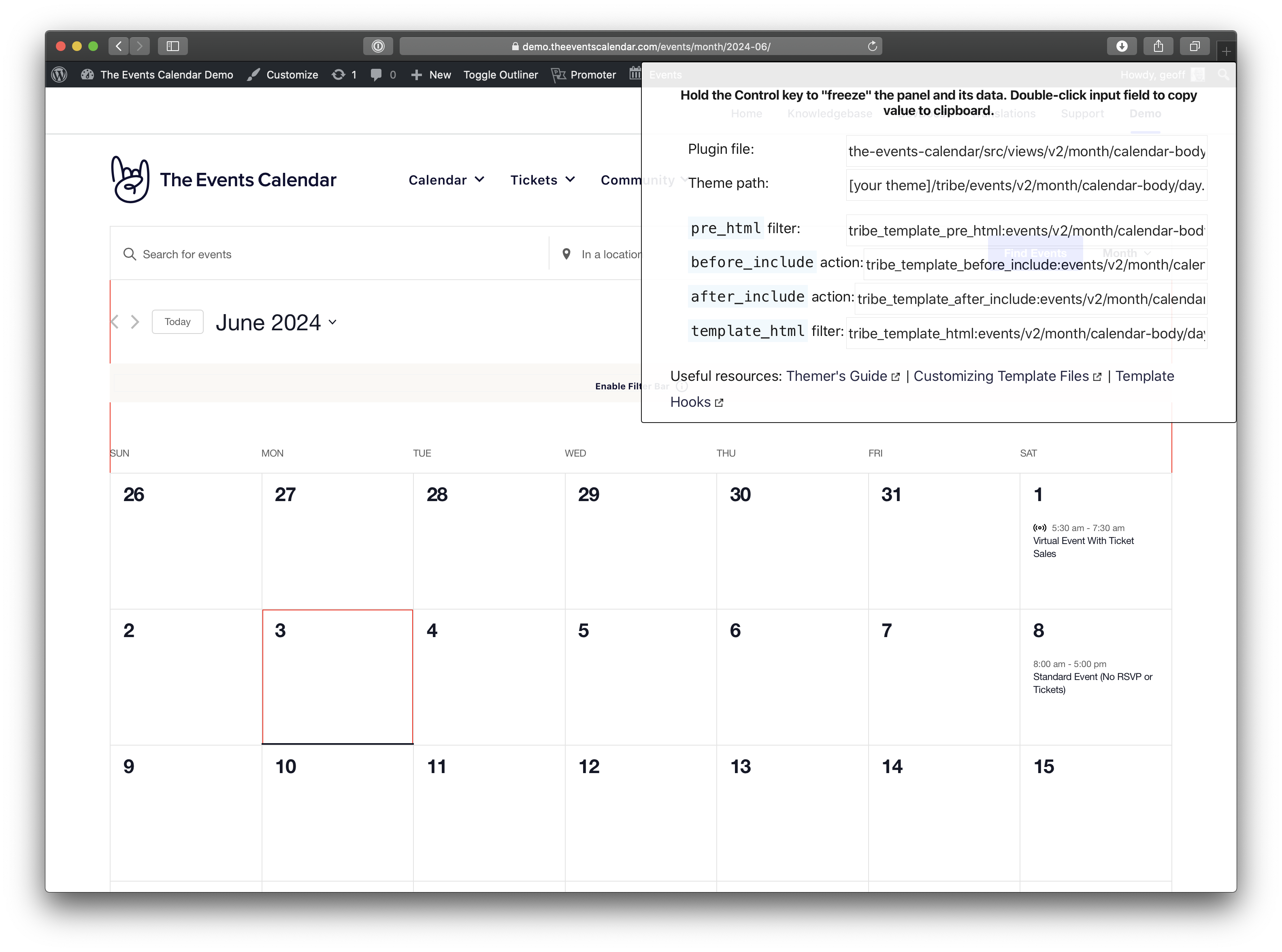 Screenshot of the calendar month view on June 2024 with the third day in the month outlined in red indicating it is being hovered. Documentation is displayed in the top-right corner of the screen.