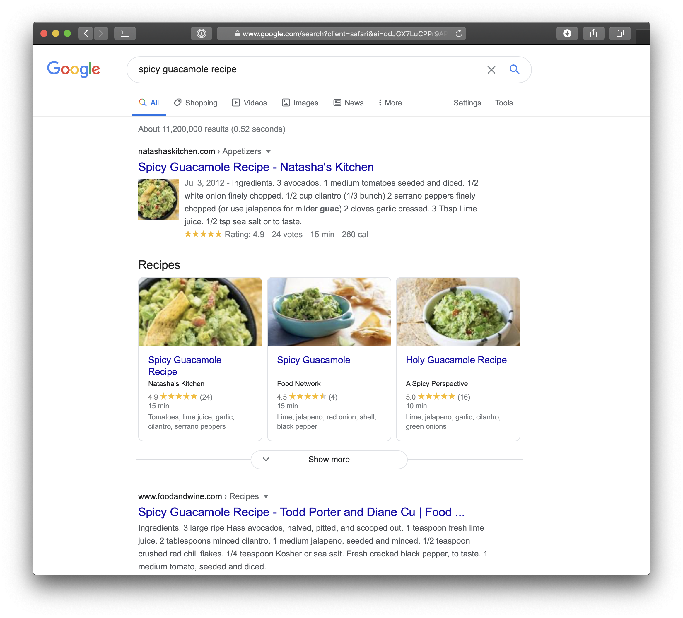 Showing search results for spicy guacamole recipes where a row of three recipes from different sites is at the top of the list.