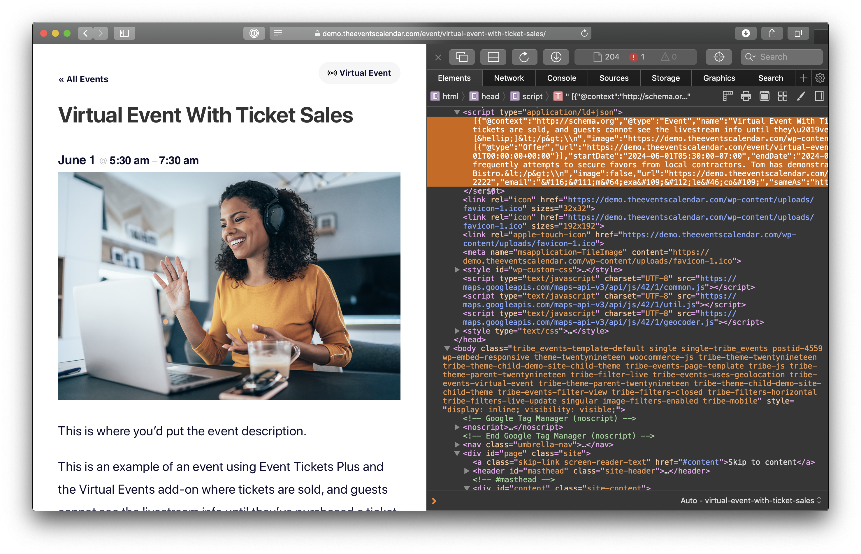Showing a browser window with DevTools open where the event is shown on the left and the JSON-LD code is highlighted in orange on the right.