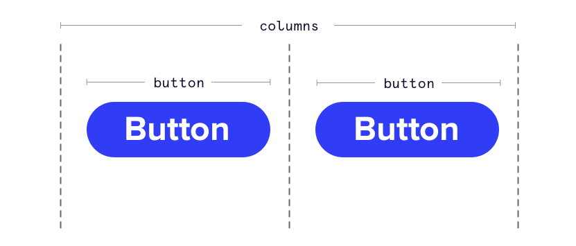 Showing an outline with two columns each with a rounded blue button that says Button as the label.